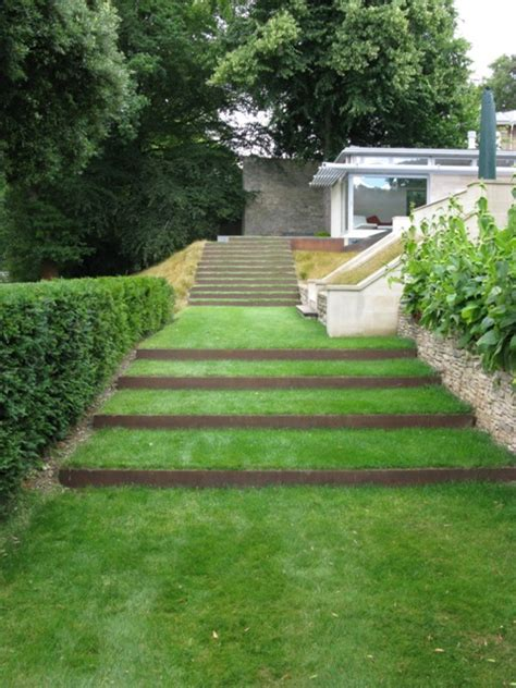 garden step design contemporary terraced staircase ironart of bath