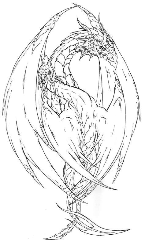 Yin Yang Dragon tattoo lines by Fachhillis.deviantart.com on @deviantART | Dragon coloring page