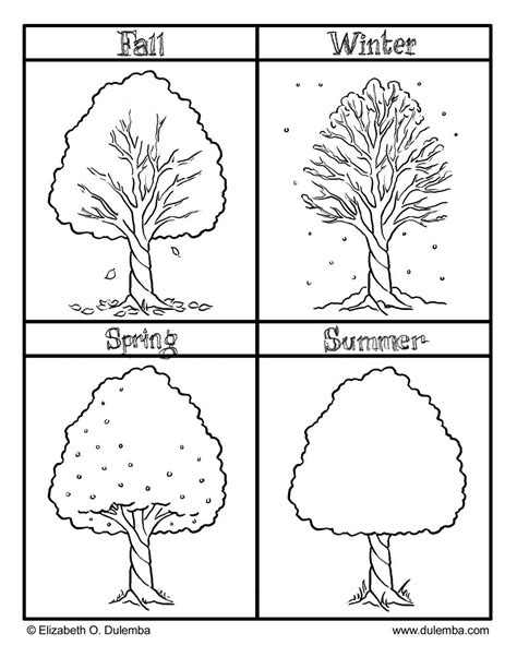 printable seasons coloring pictures  fall winter
