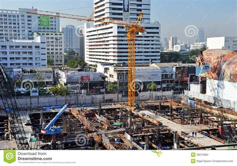 Busy Commercial Construction Site In Bangkok Editorial