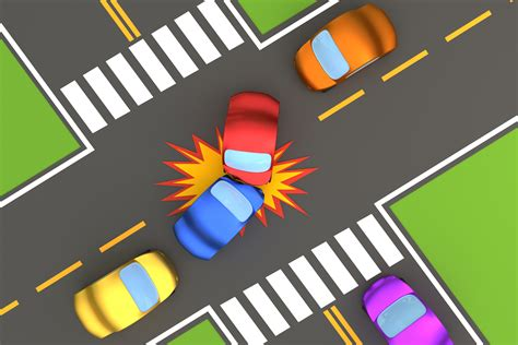 overhead view  intersection collision  image