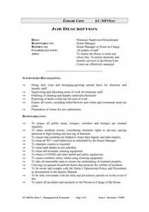 housekeeping description for resume sles of resumes
