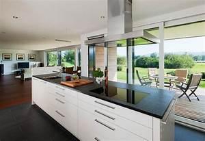 cuisine ouverte sur salon avec ilot central cuisine en image With salle À manger contemporaine avec ilot cuisine gris