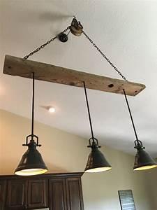 Barn Wood Pulley Vaulted Ceiling Light Fixture Pendants