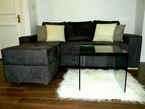 Furniture large l shaped brown leather sofa with pull out for Rug under sectional sofa
