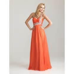 sears bridesmaid dresses empire asymmetreic beaded ruched chiffon orange prom dress