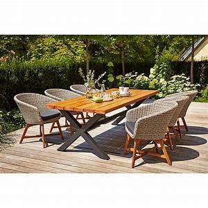 Gartenmöbel Polyrattan Set : sunfun pauline gartenm bel set 7 tlg robinie polyrattan ~ Watch28wear.com Haus und Dekorationen