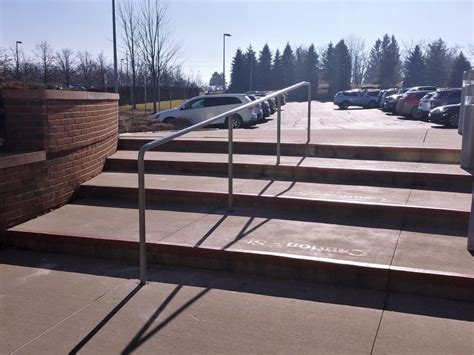 Stainless steel tube (316) satin finish. Stainless Steel Pipe Rail at Concrete Steps - Great Lakes Metal Fabrication