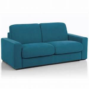 Canape convertible 3 places maxi tissu dehoussable bleu for Tapis de couloir avec canapé convertible déhoussable