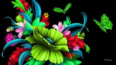 Neon Bright Butterflies Floral Colorful Flowers Flower