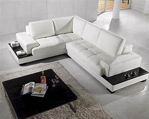 2pc, Modern, White, Leather, Sectional, Sofa, Set, 44lt71