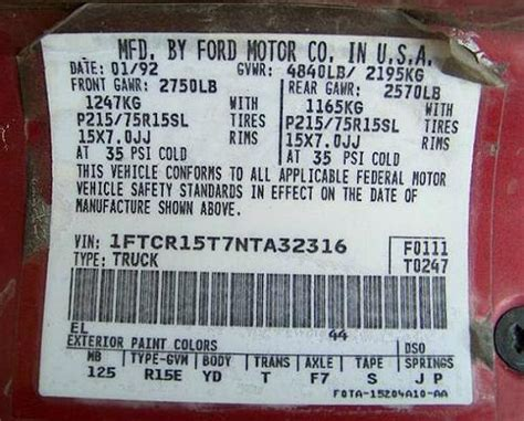 understanding  federal door sticker   ford ranger