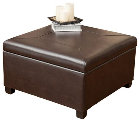 Sabrina Leather Storage Ottoman Coffee Table   Contemporary   Footstools And Ottomans   by GDFStudio