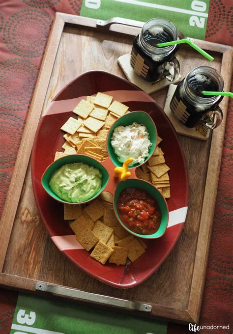 Football Party Ideas and Snacks with 6 Layer Stadium Dip