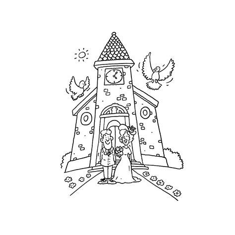 Kleurplaat Kerk by Leuk Voor Bruidspaar Voor De Kerk