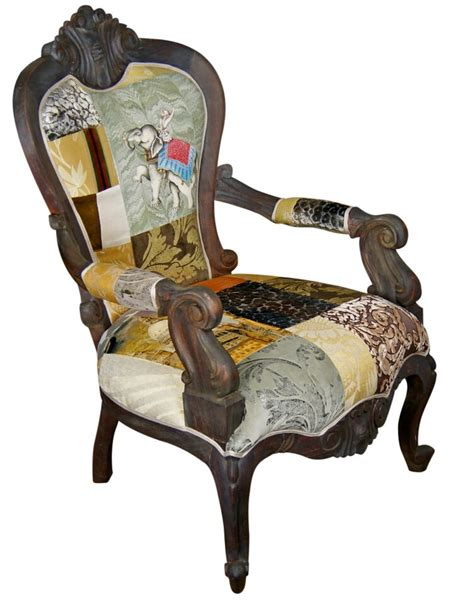 golden patchwork armchair made to order