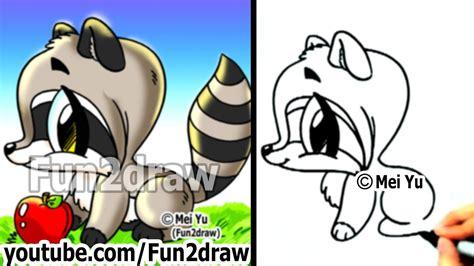 draw cartoon characters cute raccoon easy draw