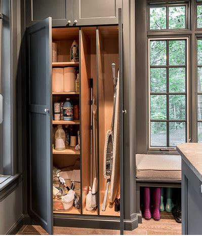 Closet for cleaning supplies, mops, brooms and vacuum(s