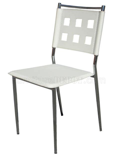 white vinyl set of 4 modern dining chairs w chrome frame