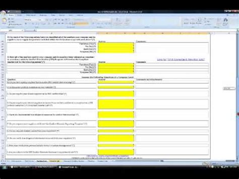 conflict minerals reporting template instructions youtube