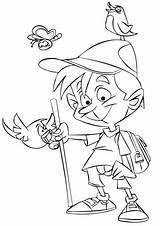 Coloring Hiking Boy Hikers Printable Drawing Template Hitchhiker Sketch Games Paper sketch template