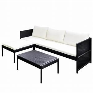 Lounge Sofa Outdoor : vidaxl black outdoor poly rattan lounge set three seat sofa ~ Frokenaadalensverden.com Haus und Dekorationen