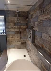 Barn Wood Tile Bathroom Black Ceramic Dark Floor For Grey