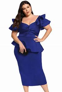 Baby Length And Weight Chart New Royal Blue Plus Size Tiered Sleeve Twisted Peplum Dress