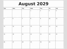August 2029 Free Printable Monthly Calendar