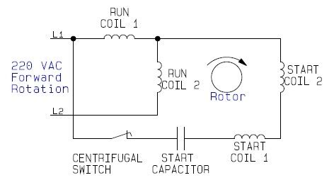 internal wiring configuration  dual voltage dual rotation single phase capacitor start ac