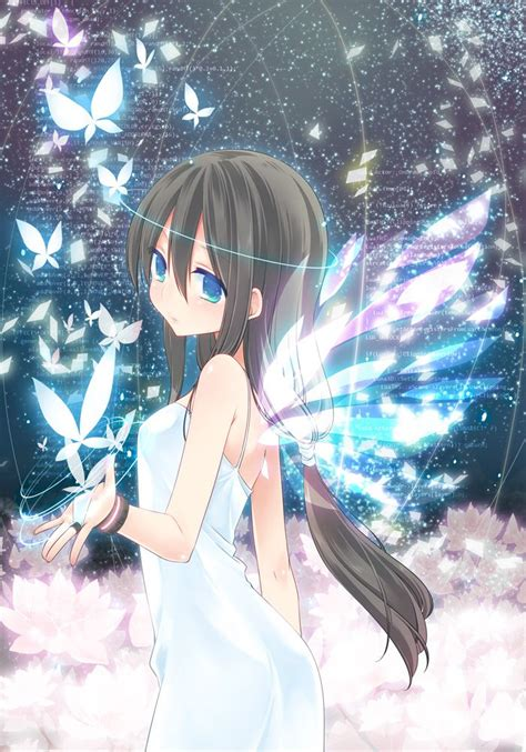 Anime Girl With Wings And Butterflies Anime Pinterest