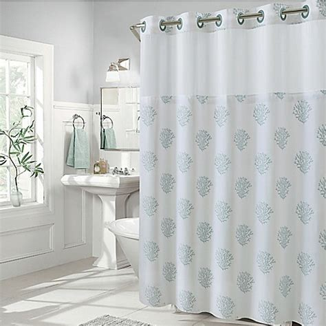 hookless shower curtains hookless coral reef and cabana stripe shower curtains