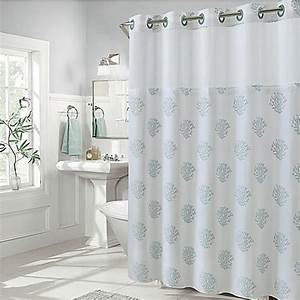 Hookless Coral Reef and Cabana Stripe Shower Curtains