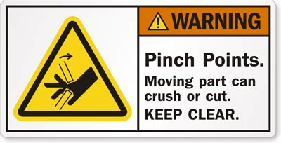 Safety Labels by Warning Pinch Points Moving Part Can Crush Or Cut Label