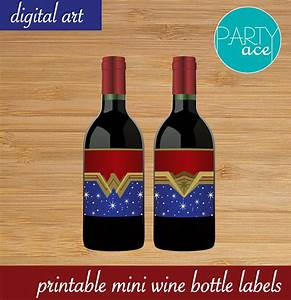 Wonder woman printable mini wine bottle labels wonder woman for Etsy mini wine bottle labels