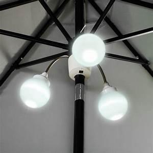 Nib solar led patio umbrella pole light fixture lighting hammacher schlemmer
