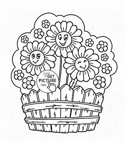Coloring Garden Flower Flowers Printable Drawing Sheets