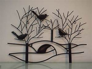 rustic metal tree branch with birds wall art hand forged With what kind of paint to use on kitchen cabinets for branch metal wall art