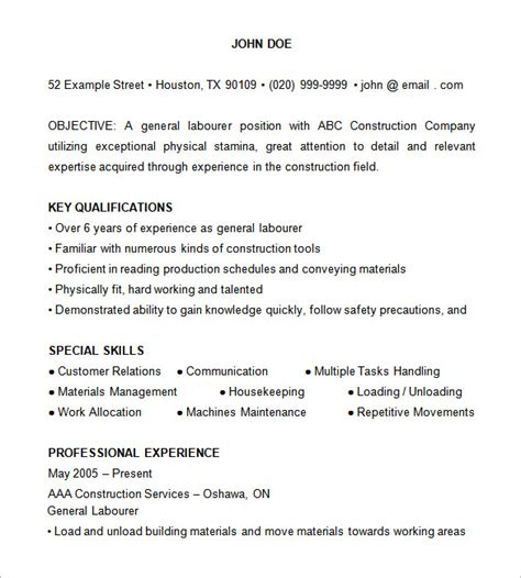 resume for construction laborer construction resume template 9 free sles exles format free premium