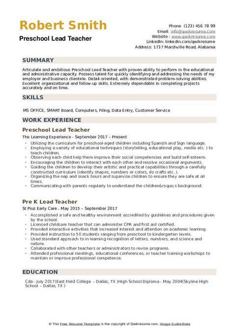 preschool lead resume samples qwikresume 297 | preschool lead teacher 1546430205 pdf