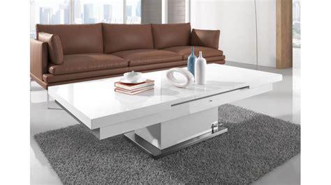 table basse relevable but table relevable modulable extensible r 233 glable en hauteur blanche brillante