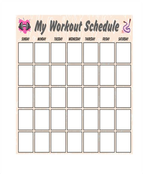 blank workout schedule template   word  format