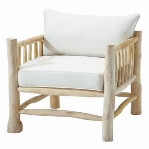 Fauteuil Suspendu Maison Du Monde : fauteuil en teck et coton ivoire rivage maisons du monde ~ Premium-room.com Idées de Décoration