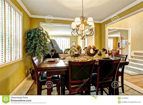 luxury house interior served dining table  bright room