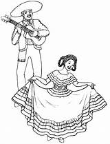 Mexican Coloring Fiesta Mexico Wearing Traditional Spanish Costume Dresses Culture Dancing Lady Activities sketch template
