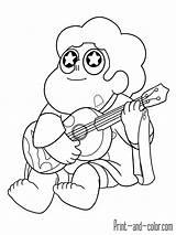 Steven Universe Coloring Guitar Printable Playing Ukelele Quartz Popular sketch template