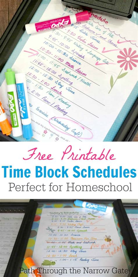 time block schedule printable life