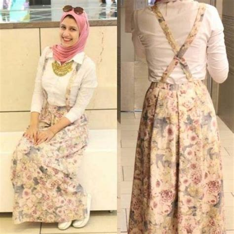 Floral skirt with back straps- College Hijab Outfits by Egyptian Fashionista http//www ...