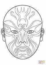 Mask Opera Chinese Coloring Drawing Masks Dragon Printable Cool Template Paper Culture Painting Crafts sketch template