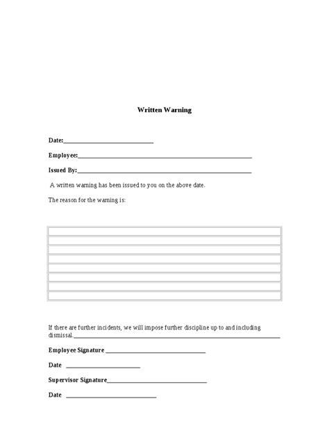 employee written warning template free written warning template cyberuse